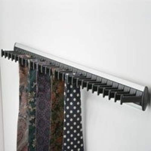 1 PREMIUM QUALITY WARDROBE DOOR TIE RACK SILVER & BLACK (SUKI)