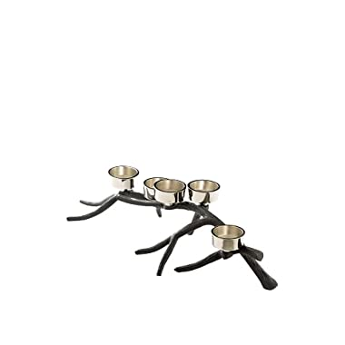 Metal Branch Candle Holder with Five Tea Light Holders. Antiqued Bronze Branches with Elegant Silvered Nickel Holders. Perfect fit for Dinner Tables at 16  Long. Very Stylish.