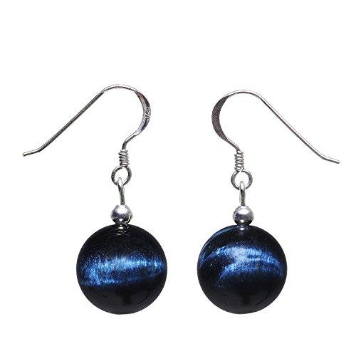 Ohrringe Ohrhänger aus Tigerauge Katzenauge blau dunkelblau & 925 Silber Ohrschmuck