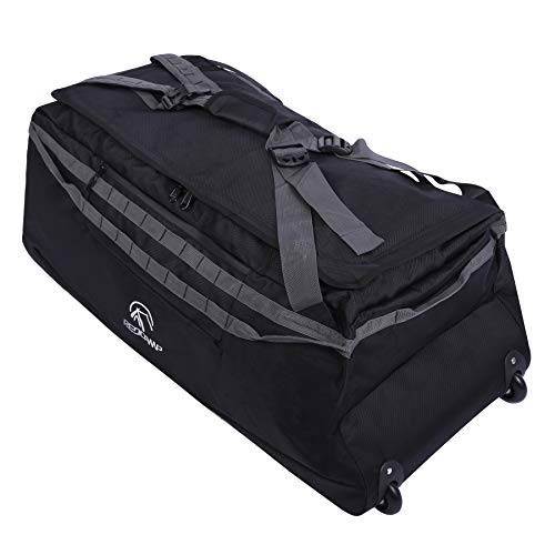 REDCAMP 140L Foldable Duffle Bag with Wheels and Backpack Straps, 1680D Oxford Extra Large rolled Duffel Bag backpack for Camping Travel Gear, Black
