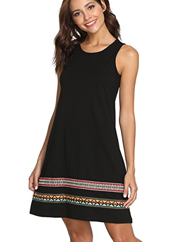 Romwe Women's Summer Boho Sleeveless Embroidered Hem Loose Casual Tank Dress Black L