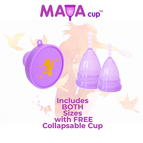 Reusable Cup 100/% Medical Grade Silicone Environmentally Friendly Tampon Replacement Size: Large Free Cotton Pouch Colour: Blue Femme Essentials Menstrual Cup