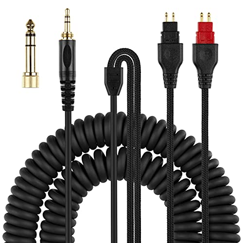 """Coiled Headphone Cord Replacement for Sennheiser HD650, HD660 S, HD600, HD6XX, HD580, HD565, HD545, HD535, Audio Cable Wire 3.5mm 1/8"""" Plug and 6.35mm 1/4"""" Adapter 5m(16ft)"""