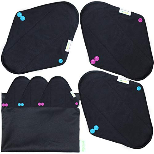 Wegreeco Bamboo Reusable Sanitary Pads (Stylish Pattern) - Cloth Sanitary Pads | Light Incontinence Pads | Reusable Menstrual Pads - 6 Pack Pads, 1 Cloth Mini Wet Bag (Medium, Black)