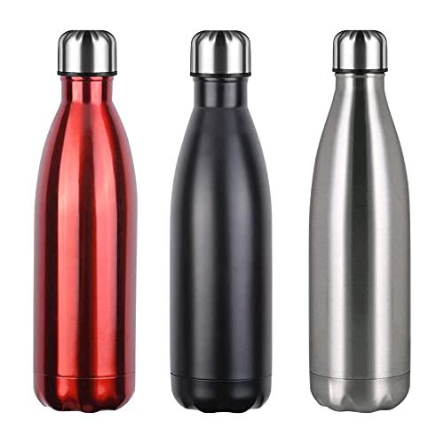 Flintronic Botella de Agua Acero Inoxidable 750ml, Estanqueidad, Acero Inoxidable sin BPA Doble Pared al vacío Termo para Sport Gimnasio Trekking Bicicleta, Cepillo de Limpieza Incluido, Color Negro