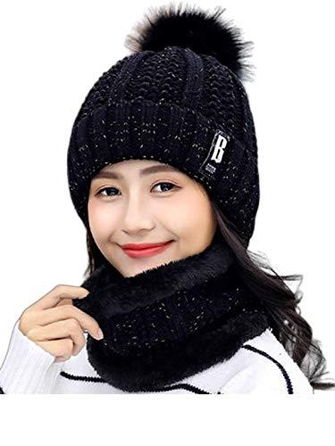 BRATS N BEAUTY® - Black Color Winter Soft Warm Snow Proof Pom Pom Cap (Inside Fur) Woolen Beanie Cap with Scarf for Women's & Girl's (Free Size)