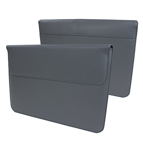 Snugg iPad Pro 12.9 2017 and 2015 Sleeve, Grey Leather Sleeve Case Protective Cover for iPad Pro 12.9 2017 and 2015