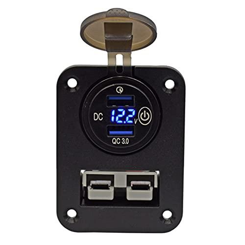 Timagebreze Panel de Cargador Doble USB QC3.0 Enchufe Anderson de Montaje Empotrado con Interruptor de PresióN para Caravana, Autocaravana, Barco, CamióN, RV