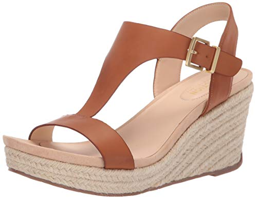 Kenneth Cole REACTION Women's T-Strap Wedge Sandal, Tan, 7