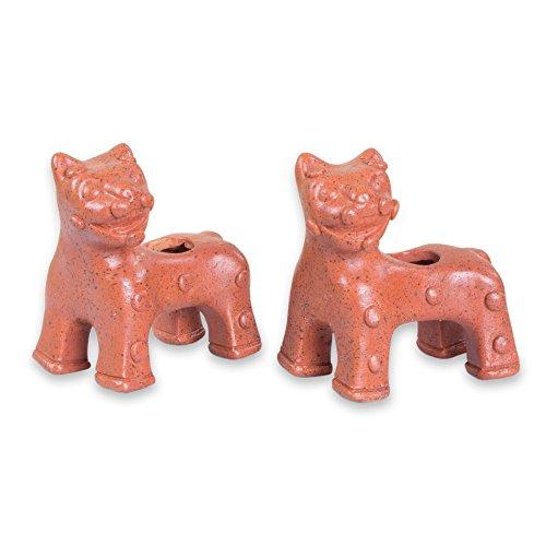 NOVICA Vasijas de cerámica Hechos a Mano, jaguares 'Maya' (par) earthtone