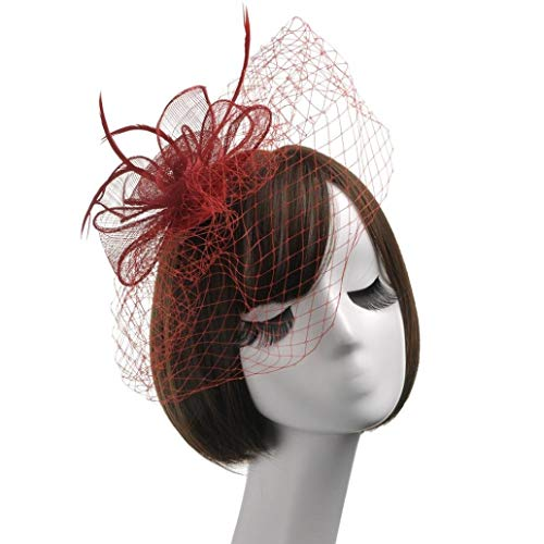 Wensltd Femme Élégant Plume Chapeau Bibi Haut Chapeau Fleur Cocktail Thé Chapeau - Rouge, Size:15 * 15 * 5CM