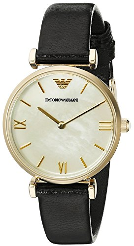 Emporio Armani Women's AR1910 Retro Black Leather Watch