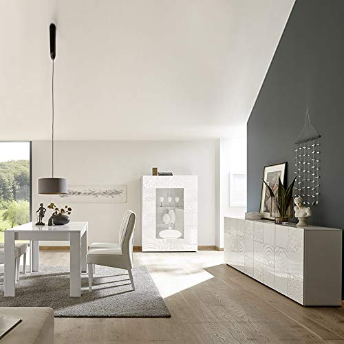 NOUVOMEUBLE Salle à Manger Enfilade 4 Portes et Table 180 Blanc laqué Design ELMA