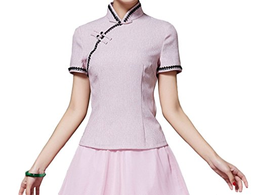 Yue Lian Damen Sommer Kurz Arme Qipao Blusen Retro Chinesische Stil Cheongsam Tops Shirt(China XL : EU 38,Rosa)