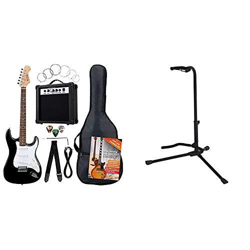 Rocktile 19331Pack guitarra eléctrica Banger 7 piezas, color negro + BSX 518050Soporte para guitarra acústica y eléctrica, color negro