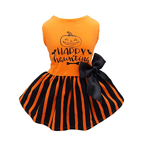 Fitwarm Halloween Dog Dresses Puppy Party Costumes Doggie Shirts Cat Outfits Orange Small