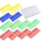 Dancepandas Portaetiquetas Plastico 50PCS Portaprecios Etiqueta De Precio Etiquetas De Plastico Color Rojo Amarillo Verde Azul Transparente (80 * 40mm)