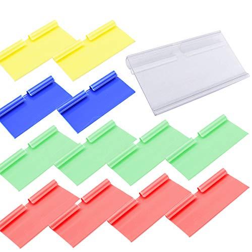 Dancepandas prislapphållare 50 st plastetiketthållare hylla kant display hållare för trådhylla detaljhandelsprisetikett varor skylt display hållare flerfärgad (8 cm x 4 cm)