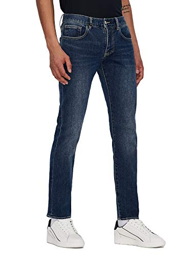 ARMANI EXCHANGE Comfort Stretch Cotton, Slim Fit Jeans, Indigo Denim, S Uomo