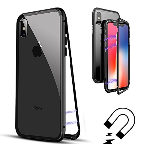 BelloCase Custodia iPhone X, Custodia in Metallo Ultra Sottile Slim ad Adsorbimento Magnetica con Cover Posteriore Rigida in Vetro Temperato Flip Cover Caso per iPhone X
