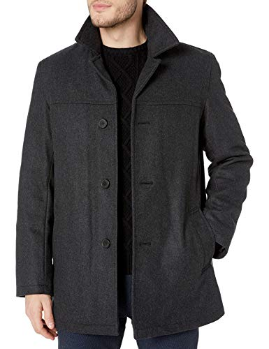 Tommy Hilfiger Herren Wool Melton Walking Coat with Attached Scarf Wollmantel, anthrazit, Groß
