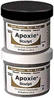 Waterproof Air Dry Clay for Sculpting and Repairs – Adhering to All Surfaces Non-Toxic 2 Part Epoxy Putty Sculpting Clay – 2 Part A & B Self Hardening Apoxie Sculpt Modeling Clay by Aves, 1 Lb, Black
