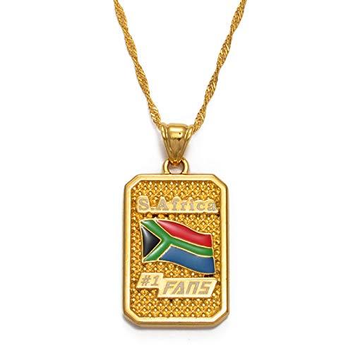 Collar Colgante Unisex,Collar De Encanto De Bandera De Sudáfrica Para Mujeres Hombres, Cadena Personalizada De Joyas De La Suerte - Regalo Del Día De La Madre - Parejas Novia Accesorio De Fiesta -