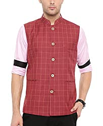 Shaftesbury London Mens Cotton Waistcoat Red