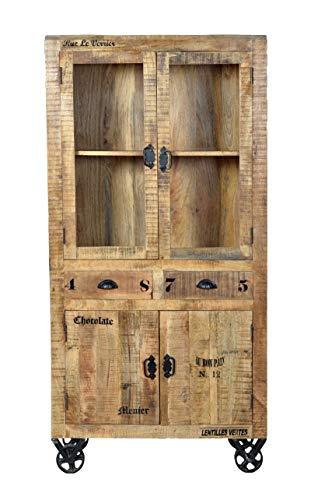 Sit Möbel 01904-04 Vitrine auf Rollen aus massivem Mango-Holz im Vintage-Look in den Maßen 90 x 40 x 180 cm