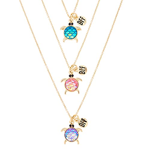 Claire's Girl's Best Friends Holographic Turtle Pendant Necklaces - 3 Pack