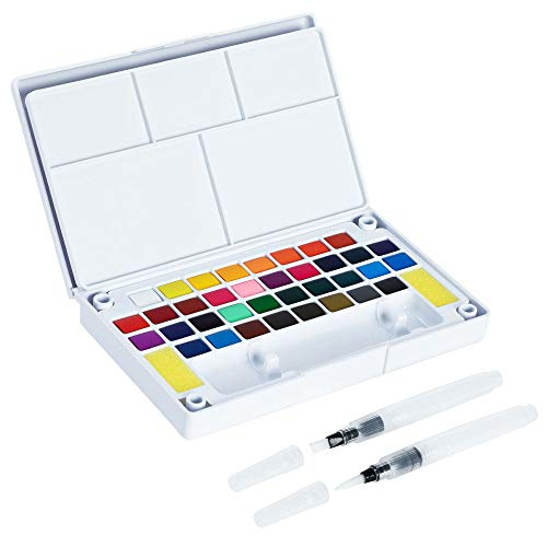 Briout Watercolor Paint Set, 36 Assorted Colors Portable Travel Watercolor Kit with 2 Blending Brush Pens - Perfect for Students, Kids, Beginners, Artists and More