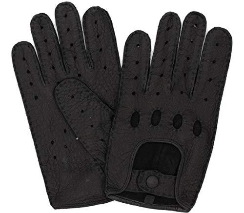 Exklusive Auto Lederhandschuhe aus PECCARY-LEDER, Autohandschuhe mit Finger, handgenäht, Autofahrerhandschuhe Herren (9,5, Schwarz)
