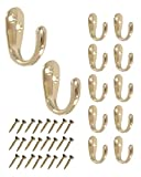 Single Prong Hook 12 Pack Brass with Screws for Towel Scarf Robe   HOWTOOL