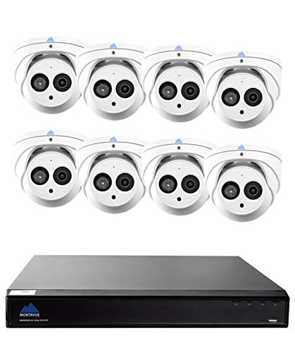 Montavue Professional Security System 8 Channel 4K NVR, 8 4MP Turret/Dome Audio Cameras w/ 200ft of HypeIR Night Vision, Color Night Optics – MTIP80828TW
