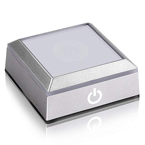 SYWAN Quadratischer LED Licht sockel mit Empfindlichem Berührung Schalter für Crystal 3D Laser Glass Art (558 Quadrat)
