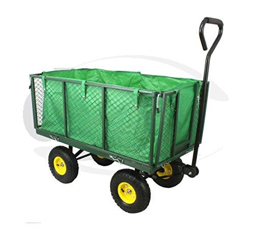 DJM hoogbelastbare kruiwagen voor de tuin, van metaal, trolley met wielen