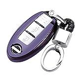 日産 スマートキーケース 車用 キーカバー 高級 TPU 軽量 シリコン キーホルダー 汚れ 落下 傷防止 カーリモコンカバーキーセットキーケースに適してニッサン日産Nissan Teana エクストレイル X-TRAIL QASHQAIムラノKICKS TIIDA Maximaリモコン装飾保護アクセサリー (紫黑)