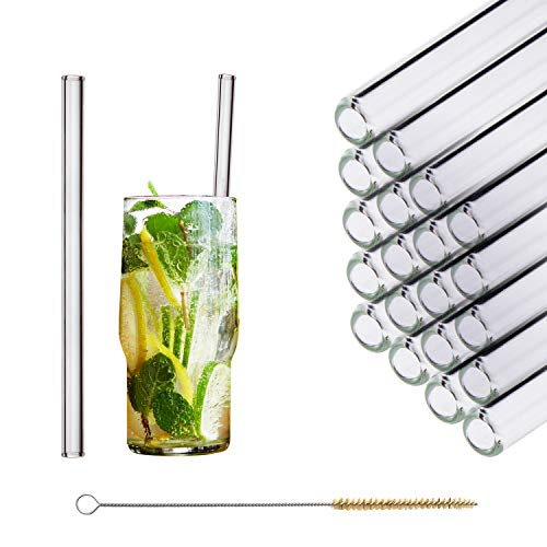 HALM Glas Strohhalme Wiederverwendbar Trinkhalm - 20 Stück gerade 20 cm + plastikfreie Reinigungsbürste Spülmaschinenfest - Nachhaltig - Glastrinkhalme Glasstrohhalme für Long-Drinks, Smoothies, Saft