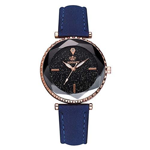 LFOZ Mujeres Night Stars Sky Cutting Dial PU Strap Reloj de pulsera de cuarzo de aleación (azul)