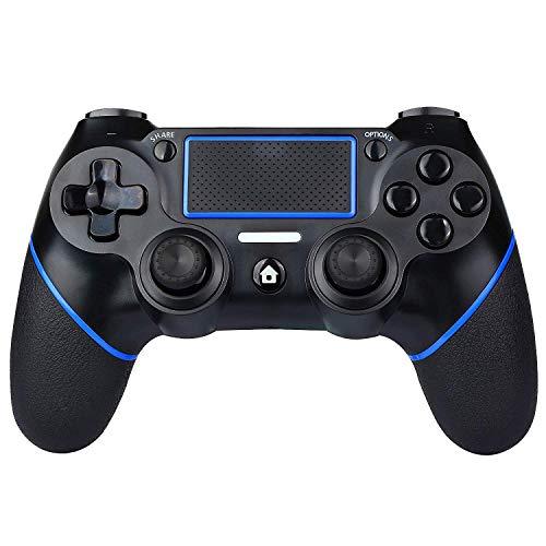 KINGCON Controller PS4 Wireless Gamepad per Playstation 4, doppia vibrazione, barra luminosa a LED, impugnatura antiscivol