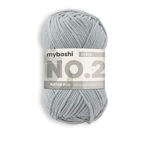 myboshi Häkel- und Strick-Garn | Modell: No.2 mit Kapok-Faser | leichtes Garn | 2930 Silber
