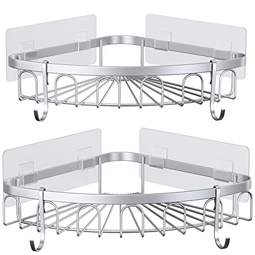 stusgo Shower Shelf, Corner Shower Caddy, Adhesive Shower Wall Caddy, SUS304 Stainless Steel Shower Rack Corner, Bathroom Storage Organizer Rustproof with 4 Hooks for Dorm Kitchen, 2 Pack