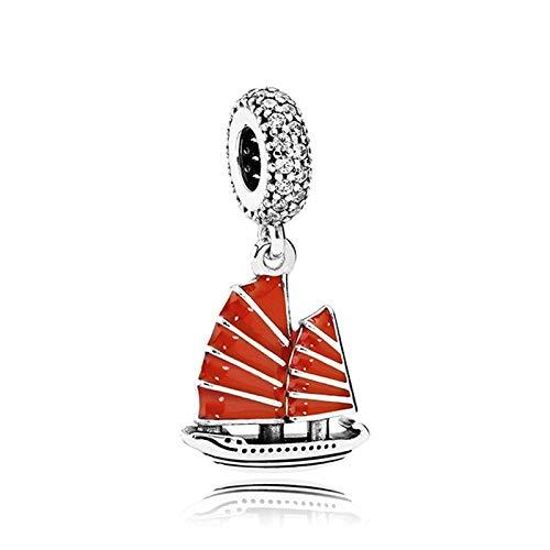 Fit Original Pandora Bracelets 925 Sterling Silver Charm Bead Red Glaze Sailboat Women Bangle Diy Jewelry Gift