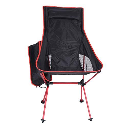 Bigood Fauteuil Pliante Portable Chaise Léger Pêcher Tabourets Camping Pique-Nique Rouge