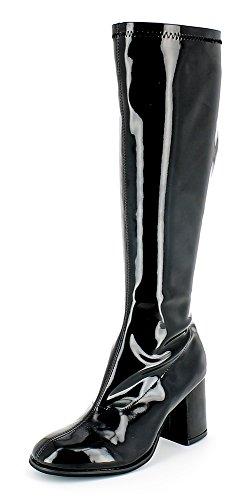 Das Kostümland Gogo Damen Retro Lackstiefel - Schwarz Gr. 44 - Tolle Schuhe zur 70er 80er Jahre Disco Hippie Mottoparty