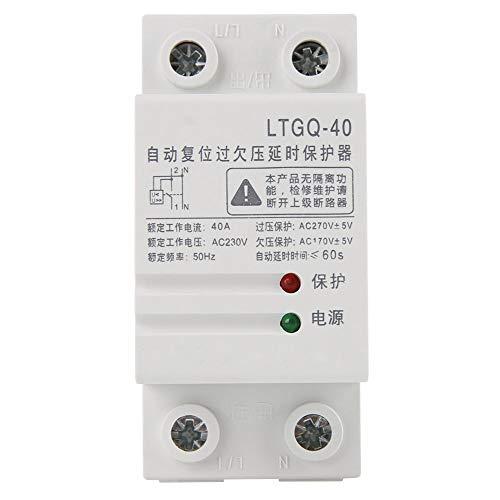 Relé de protección de voltaje, 2P 40A 230V Reconexión automática ajustable Sobretensión...