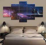 Wall Art Canvas Posters World of Warcraft Prints Painting Pictures for Bedroom Home Decor 5 Panel,A,20x30x2+20x50x1+20x40x2