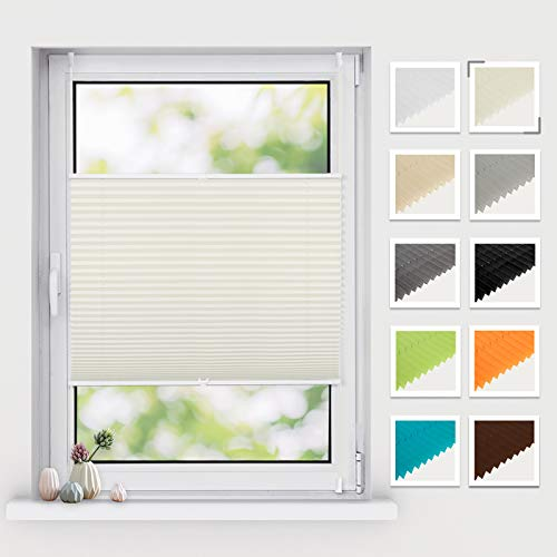 BelleMax Plissee ohne Bohren klemmfix, Jalousie Plisseerollo mit Klemmträger, Easyfix lichtdurchlässig Sichtschutz Sonnenschutz, Faltrollo für Fenster & Tür, (90x200cm, Beige)