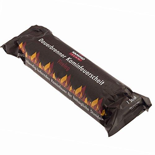 10 Stück (1 Karton á 10 Stück) KaminoFlam® - Kaminfeuer Dauerbrenner Kaminfeuerscheit, Brennstoff für Kaminofen, Holzofen, Kachelofen