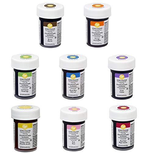 bakeryteam Selection Wilton Glasurfarben Lebensmittelfarbe für Teig, Fondant, Creme Set mit Braun und Orange 8 x 28 g